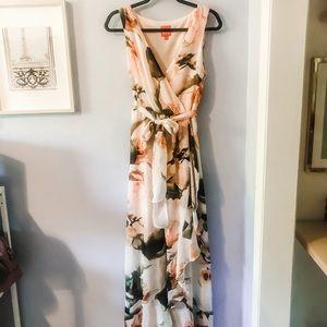Floral chiffon ruffle faux wrap dress